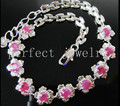 Ruby bracelet Natural and real ruby chain bracelet 925 sterlingi silver Flower bracelet 0.34ct*10pcs gems #15031701