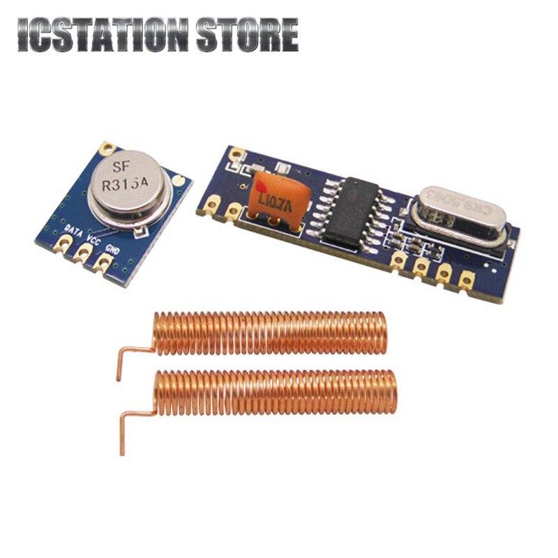 2set/lot 433MHz ASK Wireless Module kit RF transmitter STX882+ RF receiver SRX882 With 2pcs Copper Antenna Spring dra887rx 433mhz superheterodyne ask receiver module for picaxe arduino