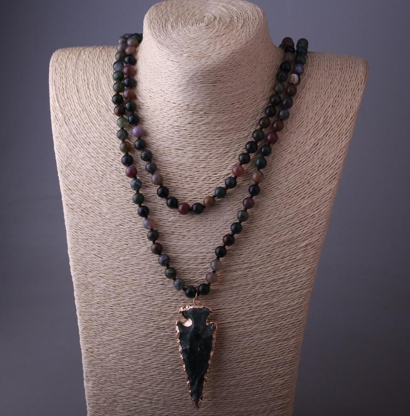 Prix pour Mode 130 cm Long Noeud Halsband Inde Agat Arrowhead Pendentif Collier Fait Main Femmes Pierre Naturelle Collier de Perles