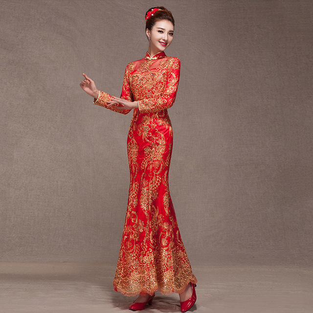 2015 Fashion Bride Red Lace Wedding Qipao Dress Fishtail Toast Long Cheongsam Traditional Chinese oriental dresses Free shipping