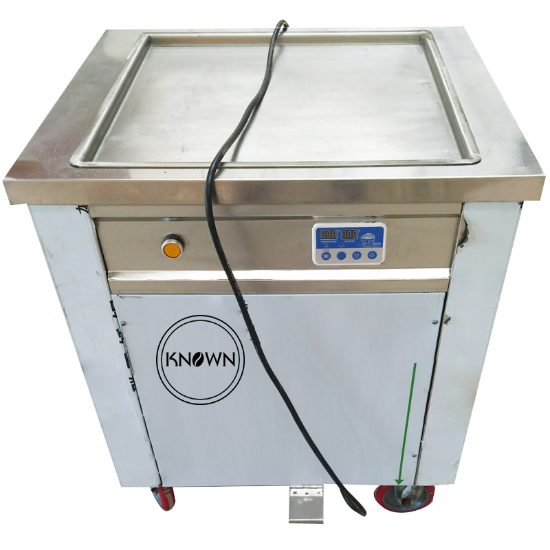 Promotion ! 220V / 110V Single Square Ice Pan Machine / Fried Ice Cream Roll Machine ( CFR Price Free Shipping By Sea)