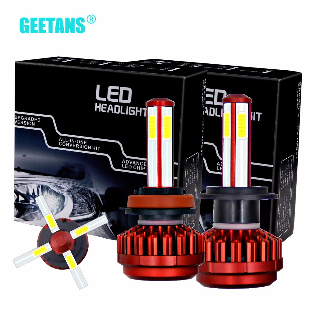 Geetans Mini Car headlight H7 LED H4 H11 H8 H9 9005 9006 HB2 HB4 HB3 waterproof COB Super bright for all car 6500K 8000lm EJ