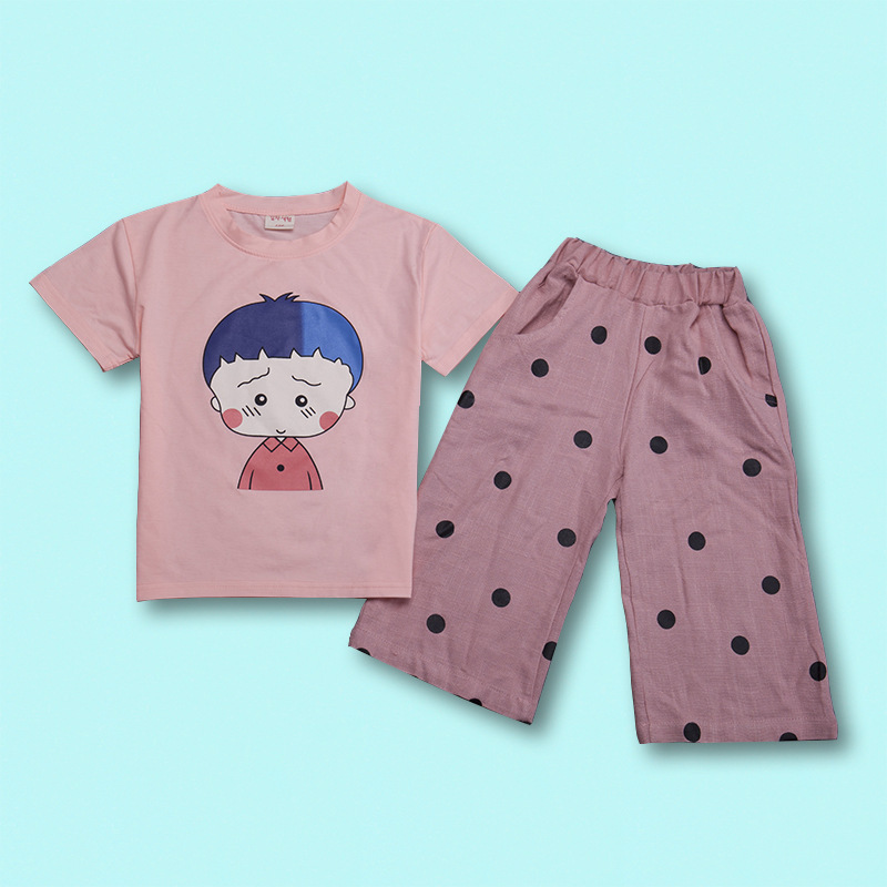 Summer Kids Clothes Sets For Girls Cute Boys Print Short Sleeve T Shirts + Shorts Children Cotton Clothing Suits Teenager Sets