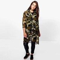 Spring Long Shirt Women Fashion Three Quarter Sleeve Boyfriend Camouflage Printed Blouse Plus Size 3XL 4XL