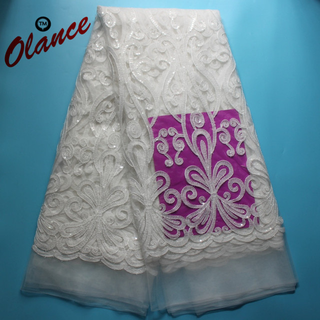 Hot sale newest pure white with metal threads and graceful Sequins Nigerian  Lace fabric AB5 cc3625030b4a