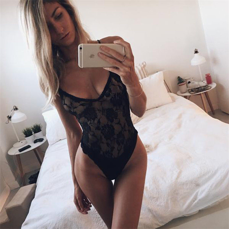 Women's Deep V Bodysuit 2020 New Arrival Summer Hollow Out Mesh Bodycon Jumpsuit Body Overall