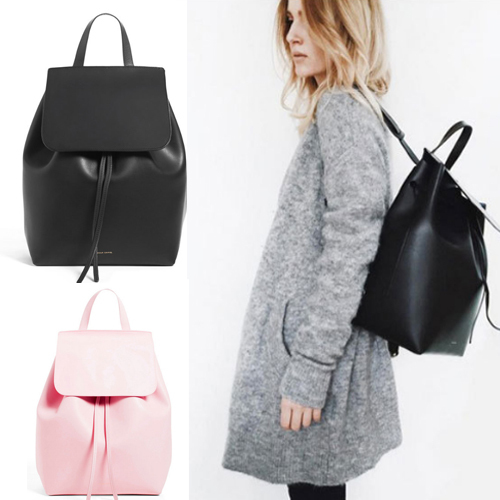 e9b3a3bfbd men women Mansur Gavriel backpack Genuine Leather Drawstring Bucket Bag  Fashion girl schoolbag Backpack Shoulder bag