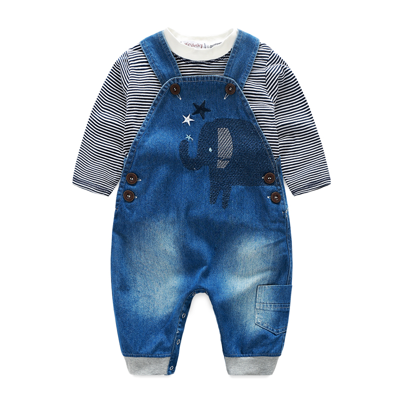 Baby boy clothes striped t shirt baby clothes with demin overalls casual kids clothes bebes clothes
