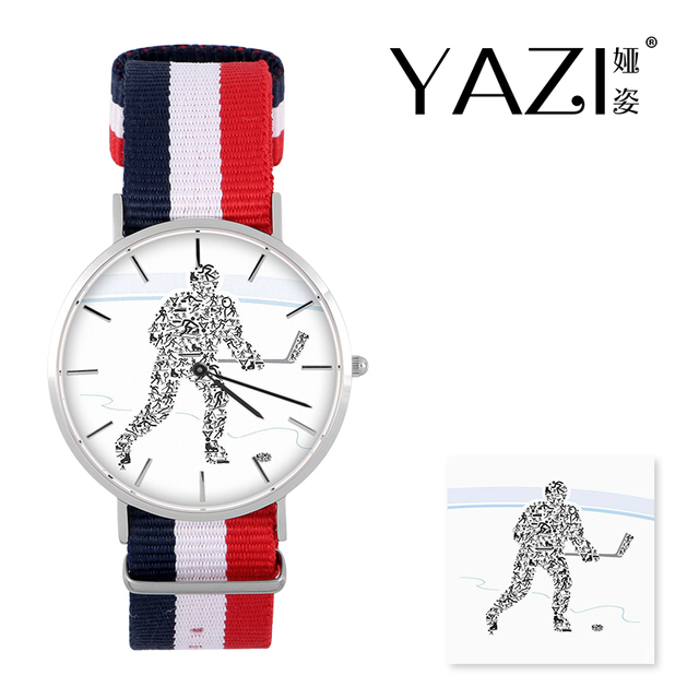 YAZI Unique Wrist Watch Hockey Player Quartz Watch Nylon Band Stainless Steel Ca