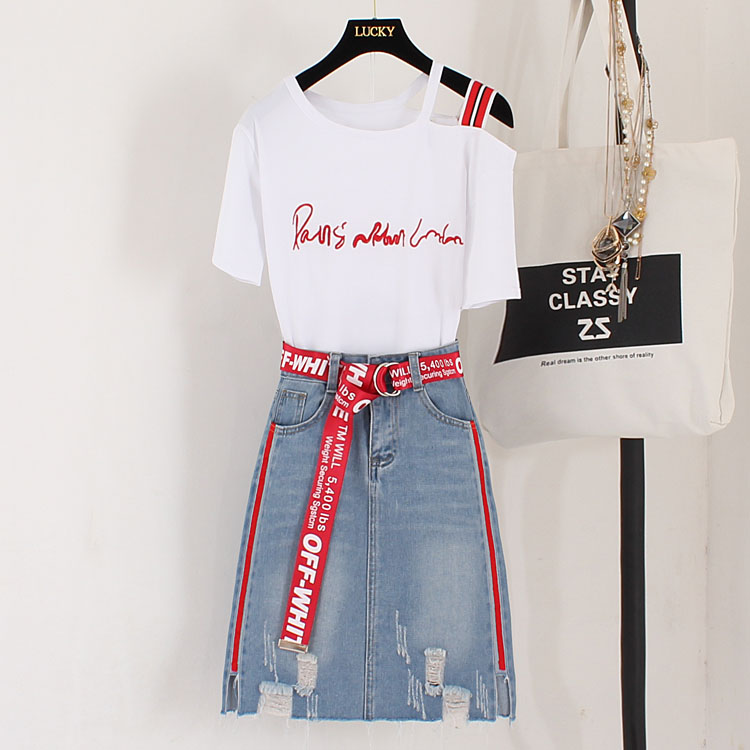 Summer New Teenager Sets Letter Embroidery Short Sleeve Cotton Tshirts+Hole Denim Skirts Students Girl Clothes Suits 2Pcs Set
