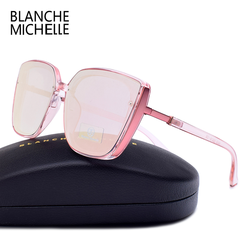 Image 2 - Blanche Michelle 2019 High Quality Cat Eye Polarized Sunglasses Women UV400 oculos Oversized Mirror Sun Glasses Brand With BoxWomens Sunglasses   -