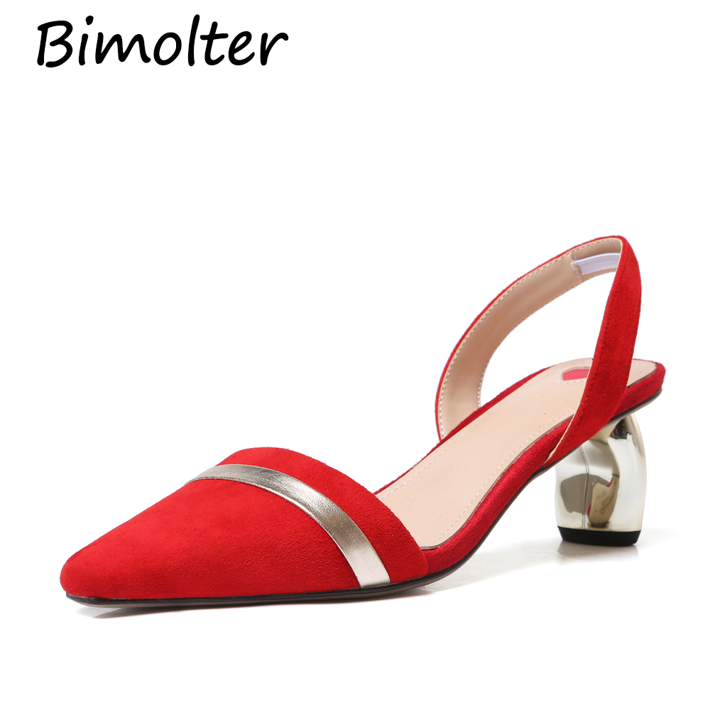 Bimolter New Sheep Suede Sling back Pumps Pointed Toe Back Wrap Casual Thin Heels Quality Leather Shoes Red Black Shoes FC081Bimolter New Sheep Suede Sling back Pumps Pointed Toe Back Wrap Casual Thin Heels Quality Leather Shoes Red Black Shoes FC081