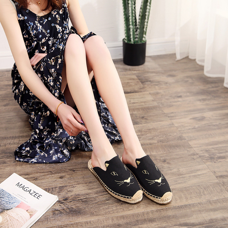 2019 Summer New Female Embroidery Cats Sippers Round Toe Lady Flat Espadrilles Slide Fisherman Shoes Slip On Women Beach Sandals (15)