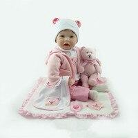 Nieuwe Bebe Reborn Siliconen Baby Pop glimlach baby kinderspeelgoed magneet Fopspeen 22 inch 55 cm Mooie roze baby beer pop
