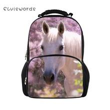 ELVISWORDS Childrens Backpacks Beautiful Horses Pattern Kids School Book Bags Cartoon Animal Teenagers Girls Large Backpack