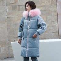 Women Winter Parkas 2018 New Velvet fabric Long jackets down cotton padded sintepon parkas big fur collar loose styled jackets