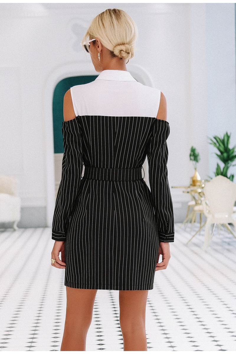Simplee Elegant fake two piece stripe women dress Office lady sash long sleeve mini dress 18 Autumn winter blazer blouse dress 6