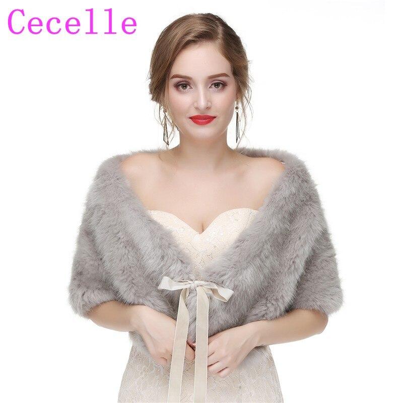 49234d141ca 2019 New Grey Faux Fur Bridal Wraps For Women Fur Bolero For Women  Wholesale Wedding Accessories