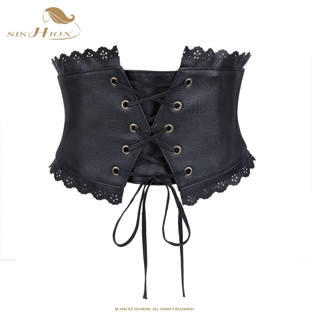SISHION 68-104cm Women Stretch Elastic Belt Retro Vintage Wide Bandage Waistband Leather Black Waist Belt Corset VB0013