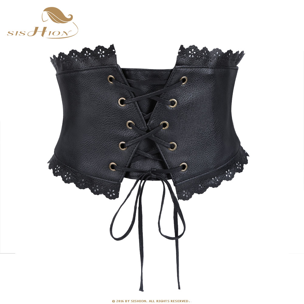 SISHION 68-104cm Women Stretch Elastic   Belt   Retro Vintage Wide Bandage Waistband Leather Black Waist   Belt   Corset VB0013