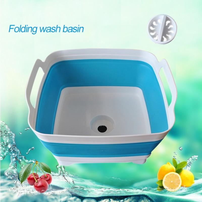 Folding Square Fruit Vegetable Washing Washbasin Storage Basket Kitchen Outdoor Travel Supply YU-Home