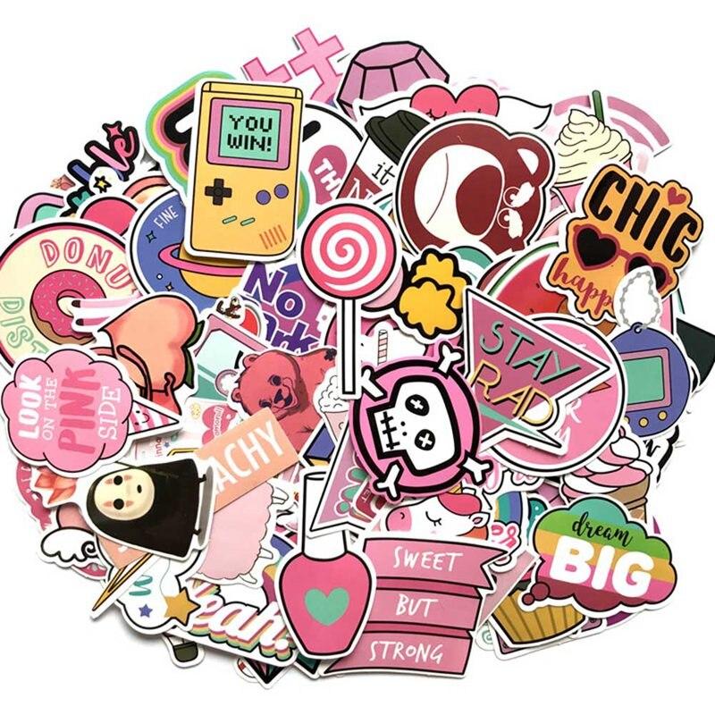 110 Pz/pacco Pvc Impermeabile Ragazze Di Colore Rosa Autoadesivo Divertente Per I Bagagli Del Computer Valigia Fresco Di Modo Di Cancelleria Adesivi