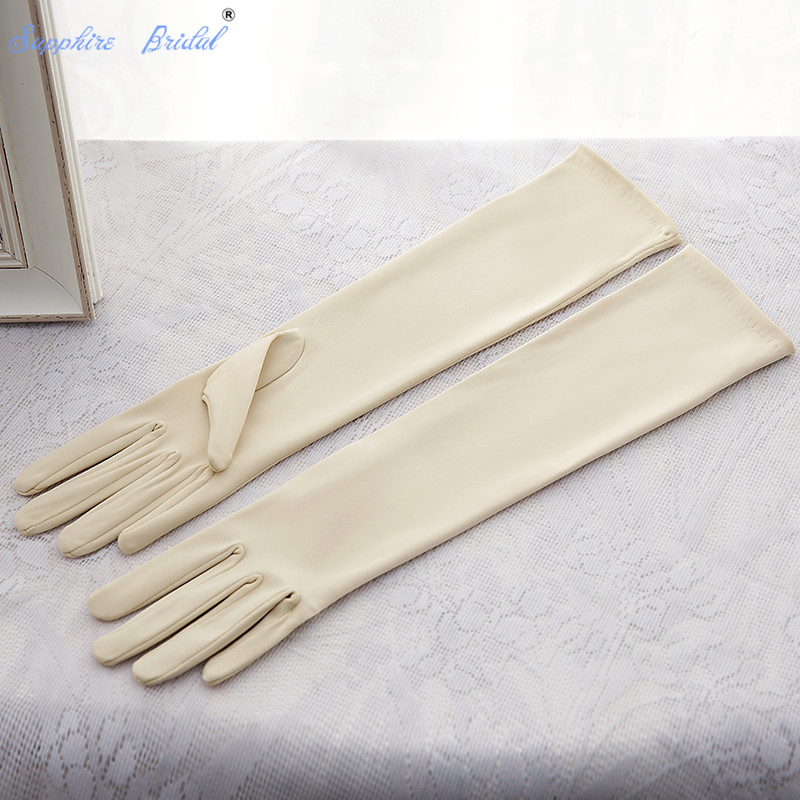 Sapphire Bridal Cosplay Long Gloves Champagne Korean  bride gloves manufacturers matte satin champagne gloves Dancing Party