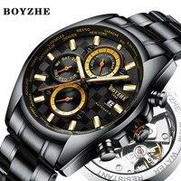 Boyzhe masculino relógio mecânico automático preto à prova dwaterproof água esportes marca de luxo relógio masculino aço inoxidável relógios relogio masculino