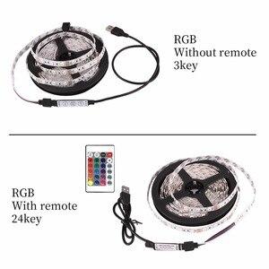 Image 2 - Striscia LED USB DC 5V lampada flessibile 60LED SMD 2835 50CM 1M 2M 3M 4M 5M Mini 3Key Desktop Decor Tape TV illuminazione di sfondo