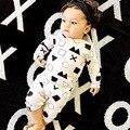 Nununu Moda Patrones Geométricos Lindo Bebé Recién Nacido Niños Niñas camisa de manga larga de Los Mamelucos Del Mono Bebe Foto Traje Traje