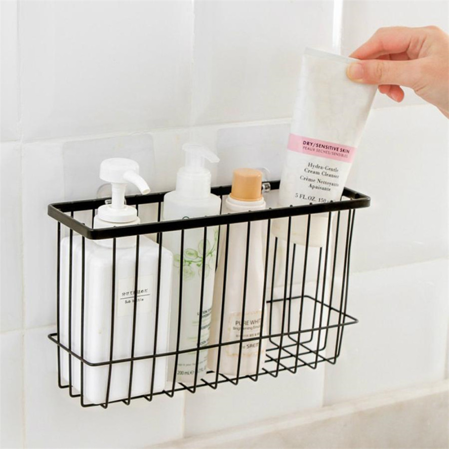 New Bathroom Storage Organizer 1pc Self Adhesion Kitchen How To Wire A Iron Basket Bin Rack Mesh 35 In Shelves Racks From Home