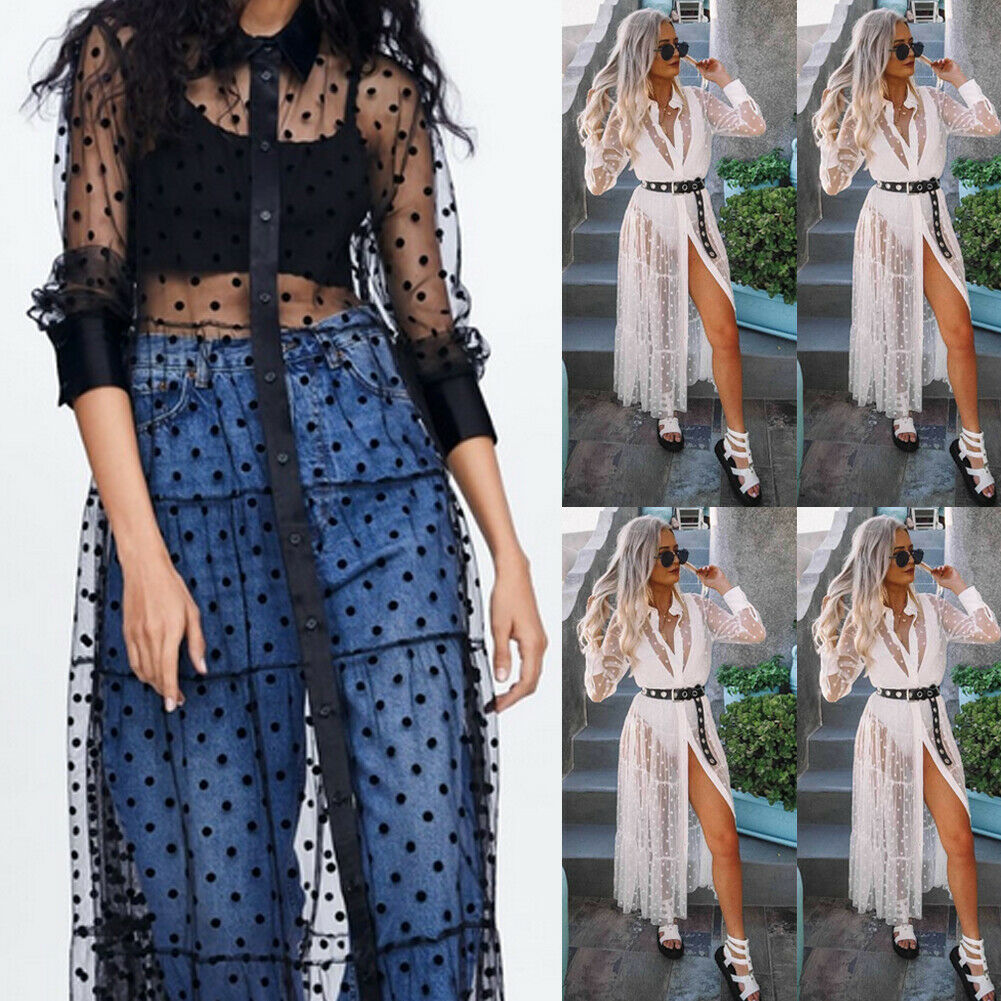 Femmes maille Transparent à pois dentelle couverture col en V boutonné Maxi robe Transparent fête Clubwear plage robe