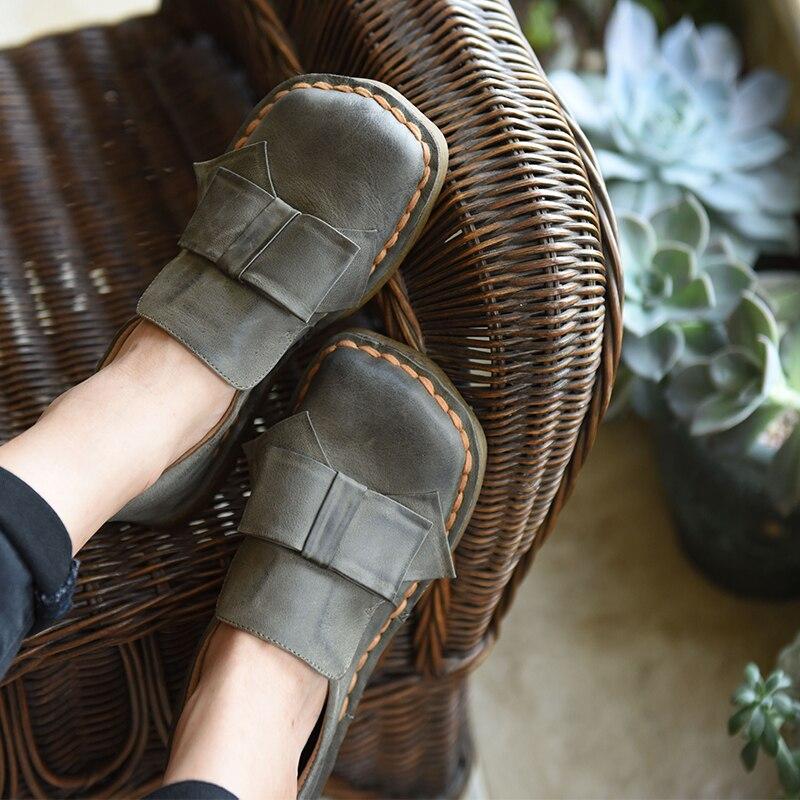 Artmu Originele Herfst Zoete Vlinder knoop Zachte Tong Schoenen Vierkante Teen Koeienhuid Handgemaakte Platte Schoenen Y2112L-in Platte damesschoenen van Schoenen op  Groep 1