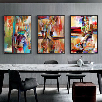 북유럽 캔버스 회화 패션 섹스 그림 그림 벽 예술 홈 장식 포스터 거실 소녀 침실 추상 미술 유화