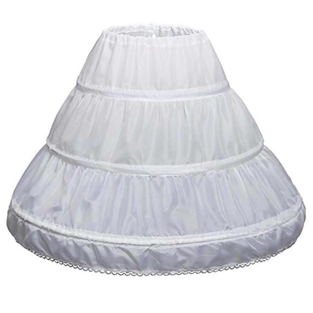 ANTI White Children Petticoat A-Line 3 Hoops One Layer Kids Crinoline Lace Trim Flower Girl Dress Underskirt Elastic Waist Cheap