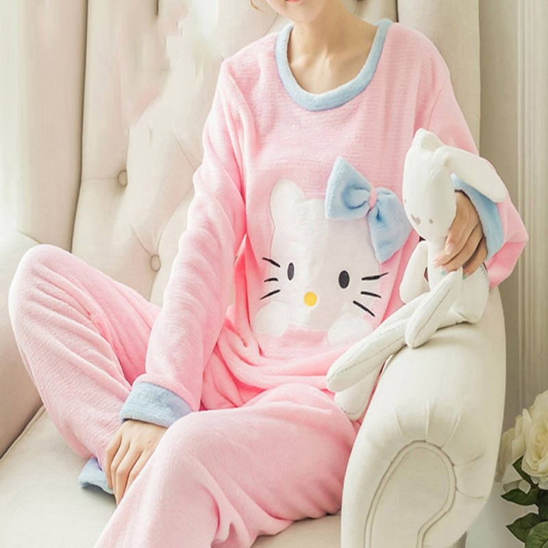 Women Cute Pink Hello Kitty Cat Coral Velvet Pajama Set 2018 Winter Thick Soft Home Sleepwear Warm Japanese Fashion Pajamas Suit