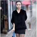 CDS046 2014 Hot sale item Luxury shawl with sleeve wholesale big mink fur knitted Shawl Poncho