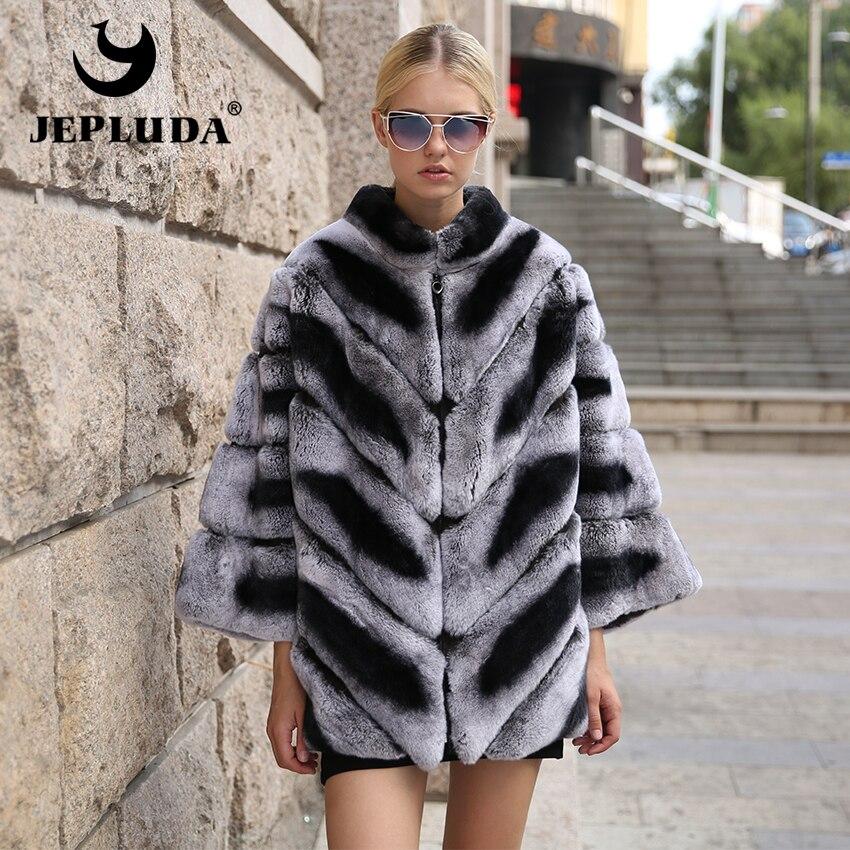 JEPLUDA Graciosa Inverno Mulheres Real Natural Casaco De Pele Casual Bat manga Real Rex Rabbit Fur Jacket Casaco de Inverno Quente Grossa mulheres