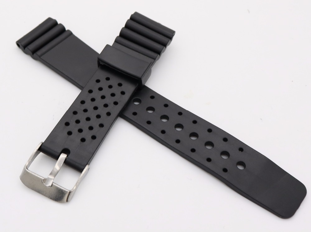 20mm(18mm buckle)Man Lady Black Silicone Rubber Straight End Wrist watch Band Strap Belt Silver Polished Pin Spring Bar Buckle