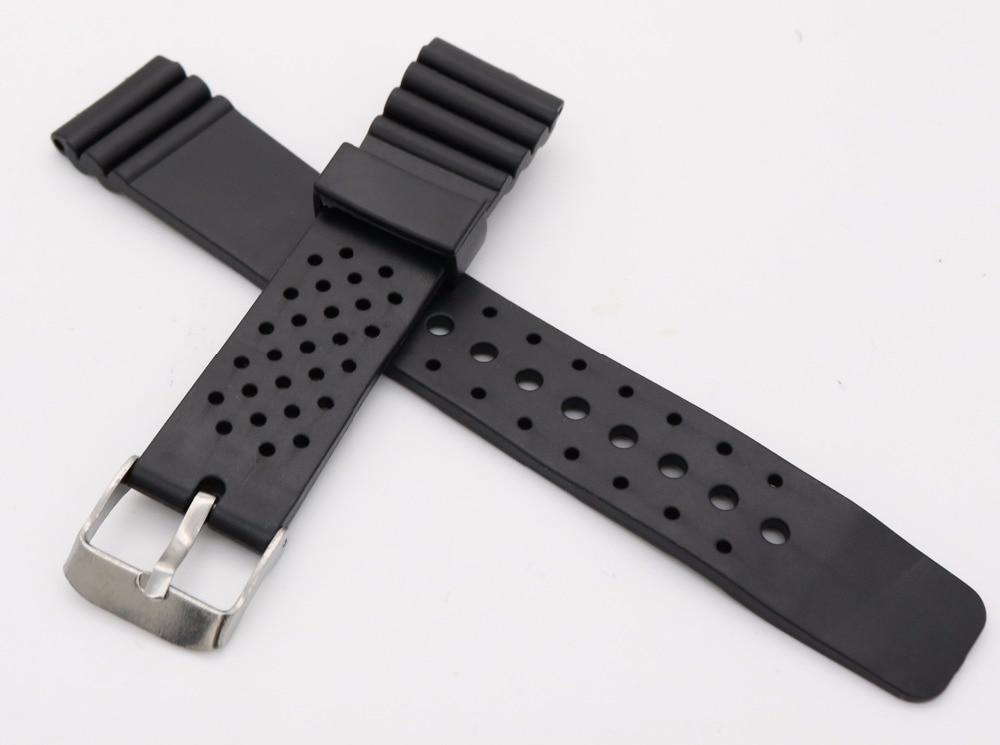 20 mm (18 mm zaponka) Man Lady črna silikonska guma naravnost zapestne ure trak pas trak srebro poliran pin spomladi bar zaponka
