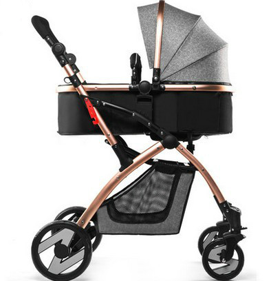 Baby stroller high landscape children cars trolley can sit lie light folding suspension pram