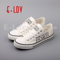 E LOV Print Rock Stars Michael Jackson Canvas Shoes Low Top Casual Walking Shoes Plus Size