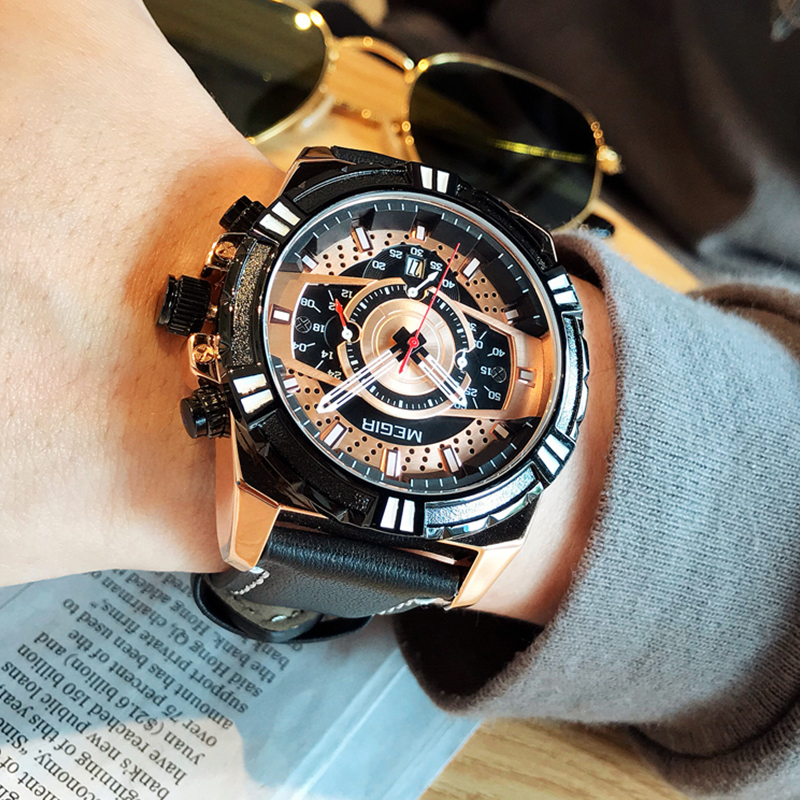 MEGIR Men's Watch Leather Strap Army Sports Casual Watches Waterproof Luminous Quartz Wristwatches Men Relogios Masculino Clock