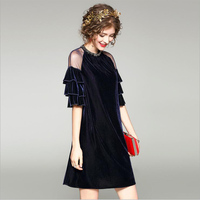 New Dresses Woman Party Night Fashion Spring Winter Style A line Short sleeve velvet dress Elegant Warm Dress