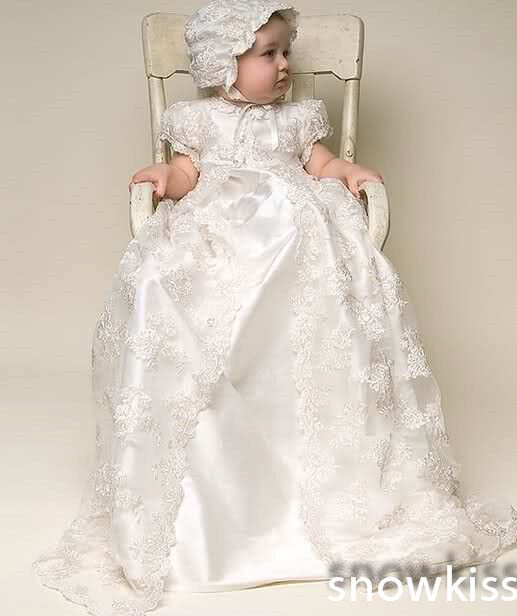 New Arrival White/Ivory Satin silk lace Baby girl Christening Gowns Newborn formal Baptism Robe Long dress With Bonnet недорого