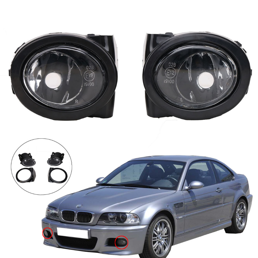 Left & Right Front Bumper Fog Light Foglamp Kit for BMW E46 M3 2001-2006 Replacement Car Lighting #PDK623-ZU front bumper fog light with 12v 55w 9006 bulbs for vw passat b6 3c 2006 2011 left right oem 3c0941699b 700b 992