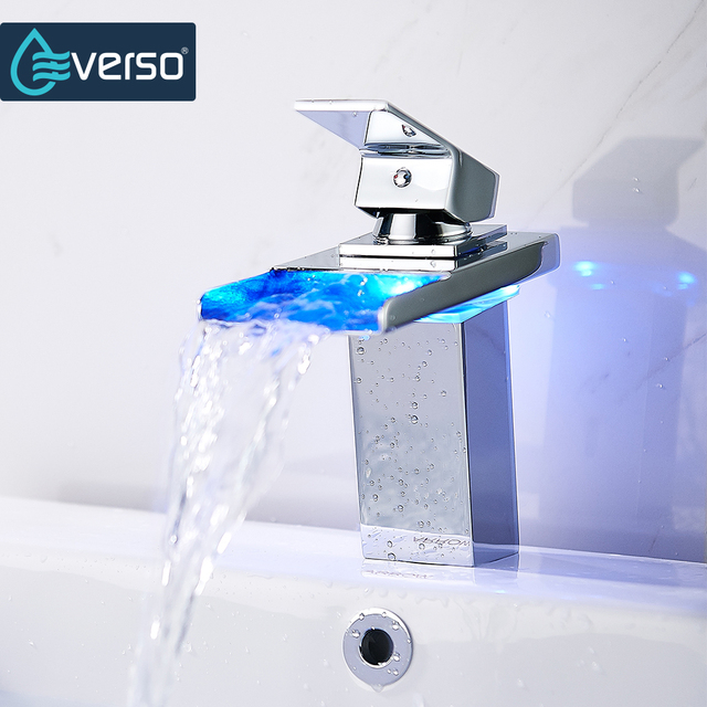 Everso Temperature Sensor Led Faucet Wide Flowing Water Basin Faucet