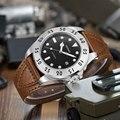 NEUE Kommen 43mm PARNIS Schwarzes Zifferblatt Datum Anzeige Stahl Fall Leucht Miyota Sapphire Luxus Marke Automatische Bewegung herren uhr-in Mechanische Uhren aus Uhren bei