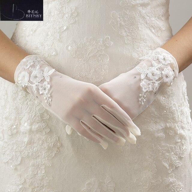 Wrist Wedding Gloves Ivory Lace Liques Fingers Short Bridal