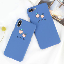Cute cartoon fruit peach  phone Case for iPhone6 7 8 simple matte fashion protective Cover for iPhoneX painted mobile phone Case